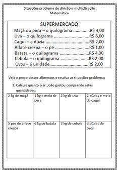 Confira uma sequencia de atividades de matemática envolvendo a divisão e multiplicação para crianças 4° e 5° ano do Ensino Fundamental.