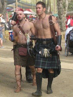 kilts (yeah we need to find cups - the pepsi one looks really out of place!) Wonder how his longer part of the kilt is made - it might help with blowing kilts! @Joy Anna Rowell