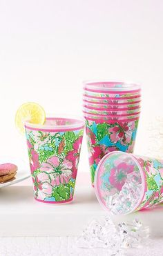 Lilly Pulitzer Tumblers (Set of 8) shown in Shorely Blue Big Flirt.