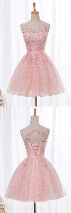 sweet pink homecoming dresses with appliques, cheap short party gowns with appliques.