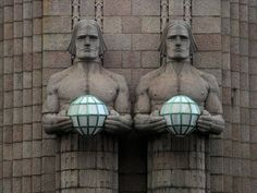 Art Deco sculptures & lighting on Helsinki Railway Station