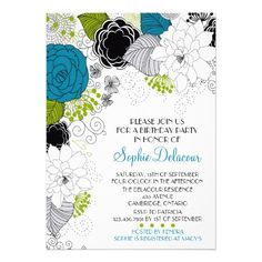 Blue and Green Pretty Floral Birthday Invitation