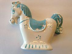 Vintage Rocking Horse Planter / Blue White Pottery / Whimsical Carousel Rocking Horse Garden Cottage Nursery Decor / Chippy Sky Blue Paint 24.