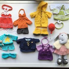 Miss Elephant and her rainbow of outfits #knitting #patterns by the wonderful #littlecottonrabbits @littlecottonrabbits these have been a joy to make #knittersofinstagram #sundayknits