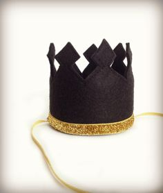 Black Crown Felt Crown Headband Gold Glitter