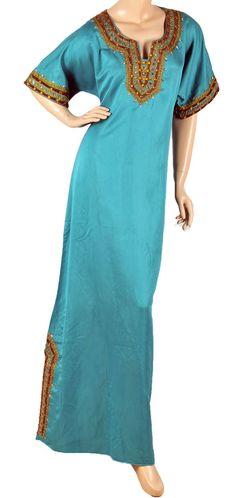"aljalabiya.com: ""The Blue Day Dream Kaftan"" Plain taffeta jalabiya with hand and machine embroidery (SJ-334)  $89.00"