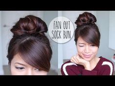 Everyday Fan Sock Bun Updo Hairstyle for Long Hair Tutorial - YouTube
