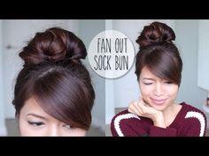 Everyday Fan Sock Bun Updo Hairstyle for Long Hair Tutorial - YouTube