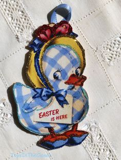 Glittered Easter Ornament~ Lovable Gingham Duck ~ Vintage Image