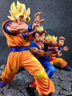 Dragonball Kai Goku Gohan & Goten Triple Kamehameha Resin Statue Diorama NEW #MB