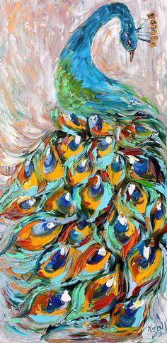 Original Peacock Oil Painting Textured Palette Knife Contemporary Modern Animal Art impressionism by Karen Tarlton. $225.00, via Etsy.
