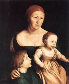 Hans Holbein der Jüngere, Die Frau des Künstlers mit den beiden ältesten Kindern (1528, Kunstmuseum, Basel)