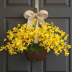 spring wreath Easter wreaths yellow forsythia wreath front door wreath, decorations, burlap bow spring wreath