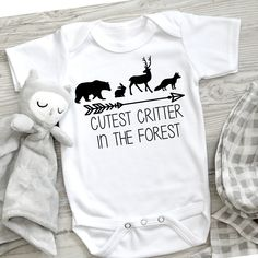 Excited to share this item from my shop: cutest critter in the forest onsie, baby onsie svg, woodland baby onsie svg, baby svg, baby animals svg Source by boldleighmade baby onsie Boy Onsies, Baby Shirts, Cute Baby Onsies, Cute Baby Clothes, Babies Clothes, Babies Stuff, Create T Shirt, Baby Svg, Woodland Baby