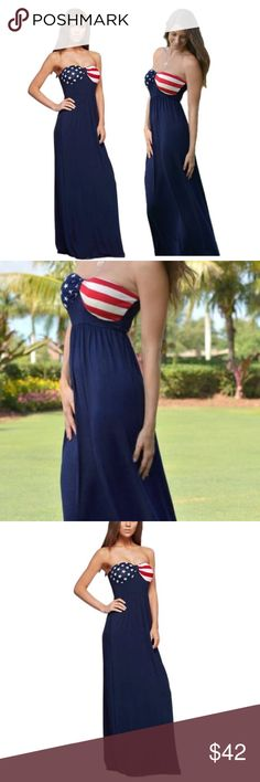 "AMERICAN FLAG, SWEETHEART NECKLINE  MAXI Show your American prideand spirit with this blue American Flag Maxi. Soft and so comfortable. 95% polyester, 5% rayon. Small (2-4) Medium (6-8) Large (8-10) XL (12-14). 54"" length. Large and XL on the way. No trades and a smoke free home. Thanks for stopping by @treasuresbytrac  Dresses Maxi"