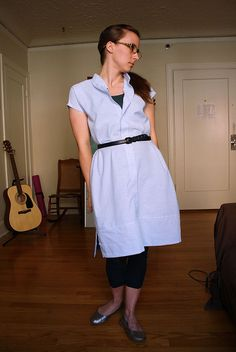 men's shirt-dress refashion by michaelannn - finally one that i like. also, i really like that she used the sleeves to add a band for extra length at the bottom, because the shirts i have are just a wee bit too short to wear as dresses.