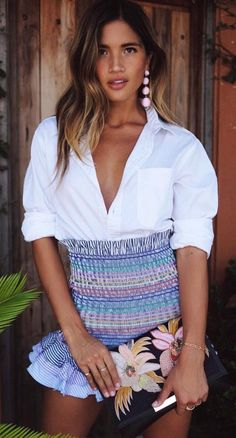 #summer #outfits White Blouse + Printed Skirt #clubdresses