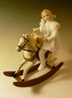 Riding With Teddy - Scale Dollhouse Doll by Debbie Dixon-Paver Dollhouse Dolls, Miniature Dolls, Dollhouse Miniatures, Tiny Dolls, Pretty Dolls, Ribbon Bows, Doll Houses, Little People, White Cotton