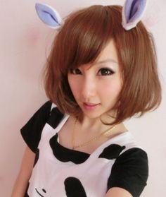 Buy Wigs Online, Lover Fashion, Side Bangs, Brown, Side Pony, Chocolate, Side Fringe