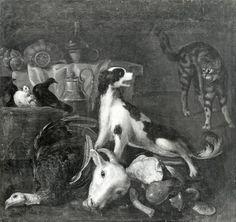 Anonimo—Autore non indicato - sec. XVIII - Cane e gatto con stoviglie, tacchino e testa di animale—insieme