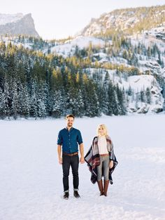 Snowy Rocky Mountain National Park Engagement: Photography : Winsome and Wright Read More on SMP: http://www.stylemepretty.com/2016/01/26/snowy-rocky-mountain-national-park-engagement/