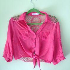 Crochet Top Adorable pink crochet crop top! Tops