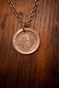 Bronze Wax Seal Initial Necklace | Bijou Booth | Bourbon & Boots