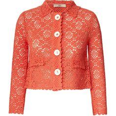 Orla Kiely Macrame Jacket Cardigan (11.755 RUB) ❤ liked on Polyvore featuring outerwear, jackets, cardigans, coats, coats & jackets, coral, crochet jacket, button jacket, red jacket and collar jacket