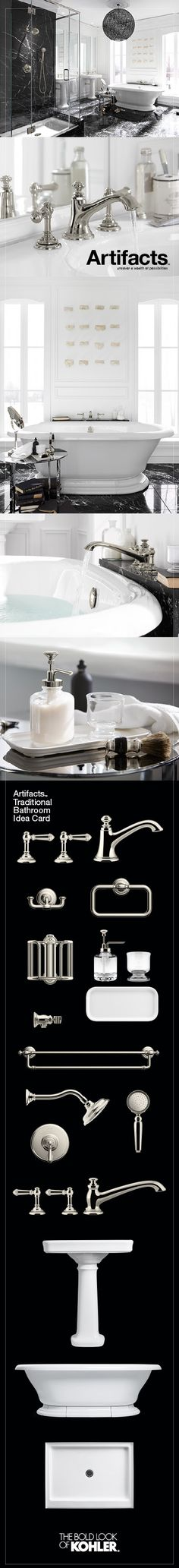 Create a look all your own with the Kohler Artifacts collection. Timeless and classic in its inspiration. #FindArtifacts black and white bathroom