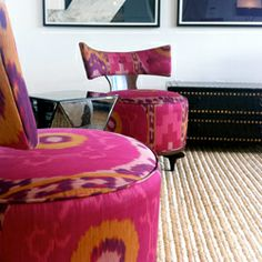 These little tufted chairs were found for a client by Susan Galvani, an independent interior designer in NYC. (via designsponge)