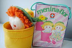 Boneca tipo fantoche de mão menina flor Brinquedo Estrela anos 80,
