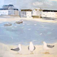 Waiting for the Catch Beach and Coastal Canvas by Hannah Cole… Loft Studio, Naive Art, Beach Art, Seaside Art, Art For Art Sake, Beach Cottages, Traditional Art, Brighton, Cat Art