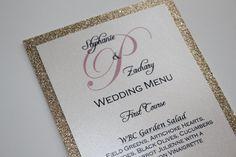 Gold Glitter Menu/Wedding/Anniversary Dinner by DKWeddingDesigns, $2.00