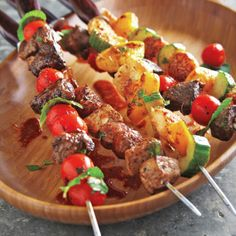 Grilled Chicken Kabobs with Chipotle-Honey Barbecue Sauce - Grilled Garlic-Basil Butter Corn on the Cob - Grilled Flank Steak with Olive-Tomato Tapenade - Grilled Pineapple with Lemonade Sauce