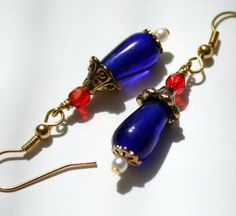 Red White and Blue Patriotic Glass and Gold by TangibleImaginings, $15.00