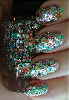 """The Muppets """"Rainbow Connection"""" by OPI--have it on my nails right now.by far my favorite opi. So Nails, Sparkly Nails, New Year's Nails, How To Do Nails, Cute Nails, Pretty Nails, Hair And Nails, Glitter Nail Polish, Opi Nail Polish"""