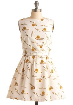 9. Your Top Three Modcloth Dresses For Success: Rachel Antonoff First in Brass Dress would be perfect. I could wear it alone during the summer or with a cardigan and tights in the winter. #modcloth #makeitwork