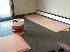 How to Install Plywood Floor Tiles Types Of Wood Flooring, Installing Hardwood Floors, Real Wood Floors, Wide Plank Flooring, Engineered Hardwood Flooring, Diy Flooring, Plywood Floors, Basement Flooring, Flooring Ideas