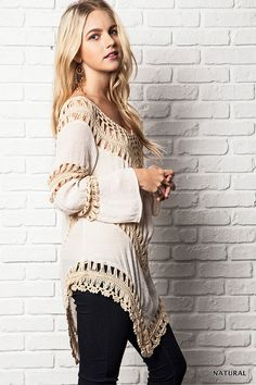 Add a boho flair to your style with this must-have tunic top! We love the super chic look and loose woven crochet design. The fit is so flattering and will pair perfectly with your springtime accessories.