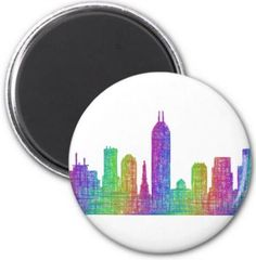 Indianapolis skyline 2 inch round magnet $3.85 *** Indianapolis city skyline silhouette - multicolor line art - button magnet