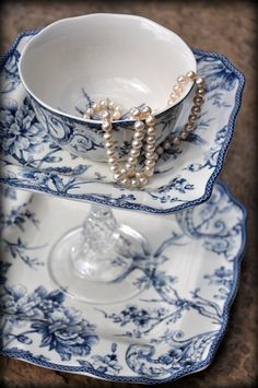 pearls in blue and white china