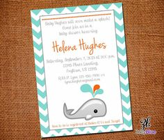 Gender Neutral Whale Baby Shower Invitation by ZoeyBlueDesigns, $10.00