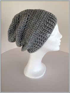 Womens winter beanie Gray slouchy beanie Gray winter by gremArt