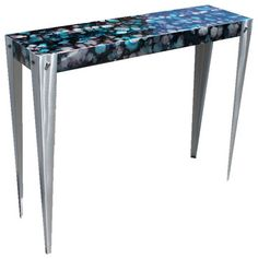 Handmade Original Black & Blue Jewel Tone Handpainted Accent Table by Jon Allen contemporary-side-tables-and-accent-tables