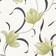 Muriva Floral Wallpaper Libby green/cream