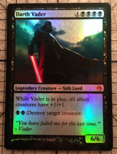 Magic the Gathering Custom Star Wars Foil Card by AlaskanNerderySupply: Darth Vader, $7.00