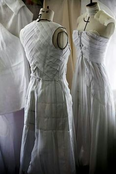 Fashion Atelier - pleated dresses in the making; haute couture fashion behind the scenes; draping; sewing // Christian Dior