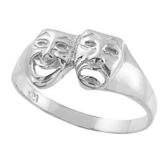 Womens 925 Sterling Silver High Polish Band Theater Acting Masks of Comedy and Tragedy Drama Ring Size 7 >>> Check this awesome product by going to the affiliate link Amazon.com at the image.