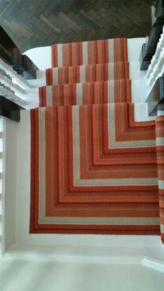Hand-sewn mitre Striped Carpet Stairs, Striped Carpets, Hand Sewn, Contemporary, Home Decor, Decoration Home, Room Decor, Home Interior Design, Home Decoration