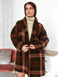 Παλτό Χωρίς Κουκούλα Καρό Καφέ- Bohemian Kimono Top, Bohemian, Coats, Women, Fashion, Moda, Wraps, Fashion Styles, Coat